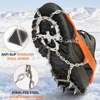 Crampon 18 Spikes Transportes de tracción Mujeres Hombres antideslizantes Nieve de nieve Hielo con bolsa de almacenamiento para caminar caminatas cables de pesca, eslingas y películas