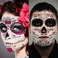 Halloween Decor Face Tattoo Stickers Facial Makeup Sticker Day of The Dead Skull Face Mask Waterproof Masquerade Tattoo JK1909