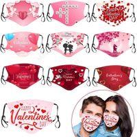 Día de San Valentín Personalizado Mascarillas para adultos Mascarillas Polvo de algodón Impresiones a prueba de polvo Respirador Lavable RREUSABLE INSERTAS DE INSTRUCCIONES DE FIESTA DAM361