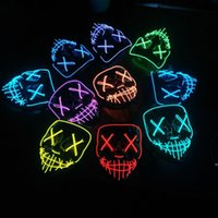 High quality DHL10style EL Wire Skeleton Ghost Led Mask Flash Glowing Halloween Cosplay Party Masquerade Face Horror DHD8718