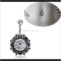 Черный ретро цветок хрустальные пучки кольца сексуальные ювелирные изделия бара пупок со зребными вилками для женщин SA94Y Arts Qeto3