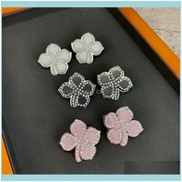 Jewelrytop Brand Fashion Jewelry For Women Flower Design Resin Party Light Gold Color Name Stamp Pink Black White Earrings Stud Drop Deliver