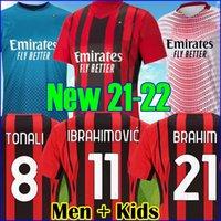Tailândia 21 22 AC MILAN Soccer Jersey IBRAHIMOVIC BRAHIM REBIC MANDZUKIC KESSIE camisa de futebol masculino crianças define uniforme