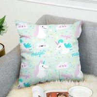 pillow case Fashion Unicorn double-sided digital printing sofa car cushion cover customizationI2LY