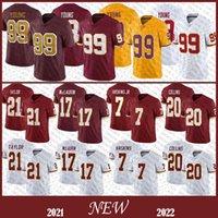 """99 Chase Genç Erkek Futbol Forması 17 Terry McLaurin 21 Sean Taylor 7 Dwayne Haskins Jr Yüksek Kaliteli Washington """"Redskin"""" Dikişli Formalar Stok"""