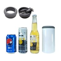 4 in 1 Sublimation 16oz Beer Coolers White Blank Straight Tumblers With 2Lids Stainless Steel Can Holders Double Insulated Water Bottles Drinking Cups Mugs A12