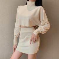 Women's Suit Skirt Loose And Thin Long-sleeved Blouse Two-piece Women Set Clothing 2 Piece Turtleneck Tracksuits