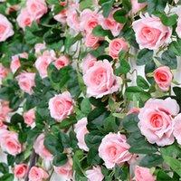 Flores decorativas grinaldas simulação rosa parede videira pendurado flor falso rattan high-end tubulação de aquecimento interior tampa plástico pl