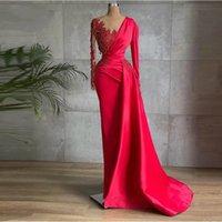 Glamorous Red Satin Mermaid Evening Dresses Long Sleeves Sheer Neck Beads Dubai Women Prom Gowns Celebrity Formal Dress