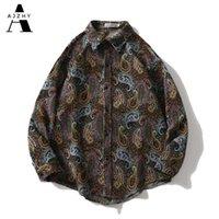 Ajzhy vintage camisa jaquetas mens manga longa botão para cima solta oversize inverno casaco casual moda harajuku hip hop roupas