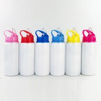 600ml Aluminum Water Bottles Sublimation Blanks Bottle Big Mouth Suction Nozzle Kettle White Color Sports Cup sea shipping BWB7910