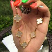 5 colores moda clásico 4 / cuatro hojas trébol encanto pulseras brazalete cadena 18k ágata de oro cáscara madre de perla para womengirls boda día de la madre joyería regalo