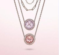 Charm 18K disc pendant necklace shiny CZ zircon rose gold bead chain suitable for Pandora style jewelry fashion girl set gift