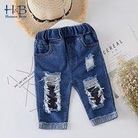 Humor Urso Crianças rasgadas Jeans Novos Crianças Meninos Meninas Jeans Denim Calças Casuais para Criança Crianças Roupas 210430