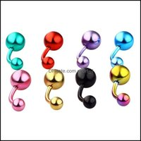 Navel & Bell Jewelrydouble Ball Naval Rings Mticolor Stainless Steel Belly Button Ring For Women Girls Body Piercing Jewelry Drop Delivery 2