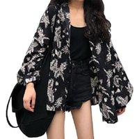 Women's Jackets Clothing Autumn Fashion Floral Print Temperament Turn-down Collar Thin Loose Lantern Sleeve Full Tops Coats