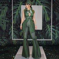 Kadın Tulumlar Tulum Kadınlar Seksi Sahne Kostüm Yeşil Tulum Ceket Flared Pantolon Ünlü Doğum Günü Festivali Kıyafet Gece Kulübü DJ Maliyet