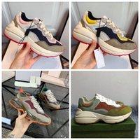 Rhyton Bej Erkekler Eğitmenler 620.185 99WF0 4371 Vintage Lüks Chaussures Bayan Ayakkabıları Tasarımcı Sneakers Boyut 35-45