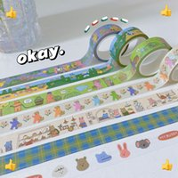 Kawaii Tape Scrapbooking DIY Decor Journal Korean Cute Bear Planner Masking Tapes Paper Diary Stationery Sticker School Supplies 2016 wzg TL1088