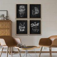 Toilette signe toile toile peinture affiches pinceaux pinceau dents noir citations blanches art décoratif images décoratives peintures