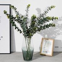النباتات الاصطناعية اللينة البلاستيك الأوكالبتوس النباتات الخضراء ديكور المنزل مصنع وهمية مصنع أوراق الزفاف الديكور محاكاة بونساي FWB6188