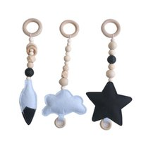 Pacifier Holders&Clips# Baby Wood Beads Activity Play Gym Toy Wool Felt Cloud Star Sensory Teething Stroller Hanging Toys Born Infant Gift