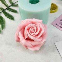 HC0191 PRZY 3D 3D Bella fiore Rosa Stampo in silicone Bouquet di rose Stampi di sapone Stampi in padeltà Gypsum Gypsum Chocolate Candela Stampo 210408