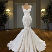 South African Mermaid Wedding Dress Lace Beading Trumpet Ruffles Sweep Train Bridal Gowns Elegant vestidos de novia