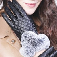 Cycling Gloves Winter Women Leather Fur Pompom Touch Screen Driver's Mittens Ski Waterproof Outdoor Warmth 2021