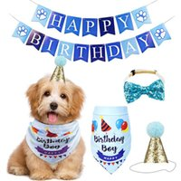 Banner Decoration Neckerchief Outfit Puppy Bandana Hat Dog Birthday Set Pet Party Supplies Bow Tie Scarf Cute Collar Fashion Apparel