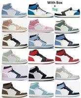 1 TS Fragmento Universidad Azul Hyper Royal Twist Zapatos de baloncesto Hombres 1S Mid Milan Digital Rosa Holandés Verde Seafoam Turbo Green Chicago UNC Patente CRED Sneakers