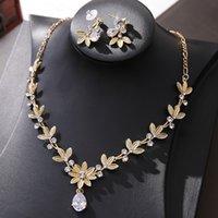 Ornamento da sposa Zircone collana orecchini set stile coreano in stile floreale abito da sposa corona corona corona corona accessori per banchetti