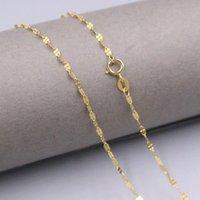 Correntes genuíno real 18k ouro amarelo 1,8mm link de forma de link colar para mulher 17.7inch selo AU750