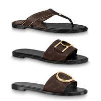 2021 Terlik Slayt Tanga Sandalet Kahverengi Deri Harfler Sandalet Kadın Terlik Erkekler Slaytlar Slaytlar Kousfront Womens 35-41 Kutusu ve Toz Torbası # lif-01