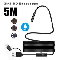 Cameras 5MM Micro USB Type-c 3-in-1 Computer Endoscope Borescope Tube Waterproof Inspection 1200P Video Camera For Android