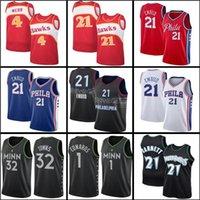 Джоэл 21 Джерси Джерси Карл-Энтони 32 Cidades Anthony 1 Edwards Kevin Баскетбольная майки Garnett Spud 4 Webb Mens