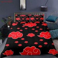 Home Textiles 2/3 pieza Conjuntos de edredones Japón Anime Naruto Akatsuki Cubierta de acolchado Funda de almohada Doble doble camas tamaño lino