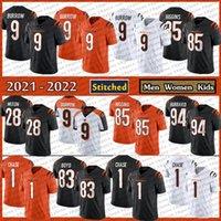 9 Joe Burrow 2021 New Stitched 1 Jamarr Ja'marr Chase Football Jersey 85 Tee Higgins 28 Mixon 94 Sam Hubbard Cincinnati 94벵골망 83 타일러 보이드 여성 키즈 청소년