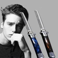 Saç Fırçalar 1 ADET Otomatik Paslanmaz Çelik Combs Katlanabilir Bıçak Giyotin Tarak Fırça Aksesuarları Kelebek Erkek Cebi
