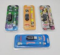 만화 인쇄 트위스트 배터리 백우즈 요리사 - IES Runty 1100mAh 가변 전압 조정 가능한 vape 펜 물집 키트 USB 충전기