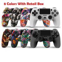 8 cores Bluetooth Wireless Gamepad Controller para PS4 Quatro Gerações 4.0 com caixa de pacote de varejo UE e EUA