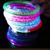 Light Up Bubble Pulsera Luces LED luces intermitentes Bangle Banquete de boda Círculos de pulsera de la fiesta de la boda con las baterías brillan en Tiktok G56A6M3