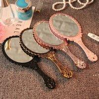 Specchi di trucco tenuto a mano romantico Mano di pizzo vintage tenuta specchio con manico ovale rotondo utensile cosmetico regalo regalo HHA7838