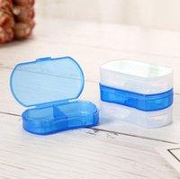 السفر المحمولة مصغرة البلاستيك حبة مربع الطب حالة 2 مقصورات مجوهرات حبة أجزاء المنظم صناديق تخزين DDA5532