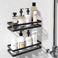 Bathroom Shelf Space Aluminum Black Storage Holder Bath Shower Shelf 20-50cm Kitchen Wall Shelf Toilet Shampoo Holder No Drill