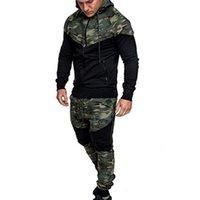 أزياء التمويه طباعة عارضة الرجال مجموعات 2 أجزاء رياضية مقنعين البلوز + السراويل البلوز هوديي رياضية دعوى # G2 الرجال رياضية