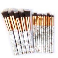 Makeup Brushes 15 PCS Marble Brush Set Hexagonal Eye Blending Fashion Eyeliner Powder Cosmetics Multifunctional Portable Tool