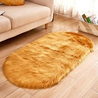 Carpets Soft Faux Fur Area Rug Living Room Long Plush Oval Carpet Artificial Wool Sheepskin Shaggy Rugs Floor Mat For Bedroom