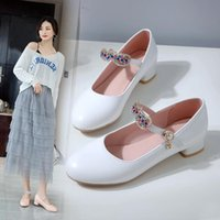 Dress Shoes Sweet Party Wedding Women High Heel White Pink Buckle Mary Jane Chunky Heels Ladies Pumps