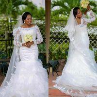 Plus Size Wedding Gowns Mermaid 2021 Elegant Beaded Lace Long Sleeve Organza Tiered Skirt Bridal Dresses Vestidos De Novia